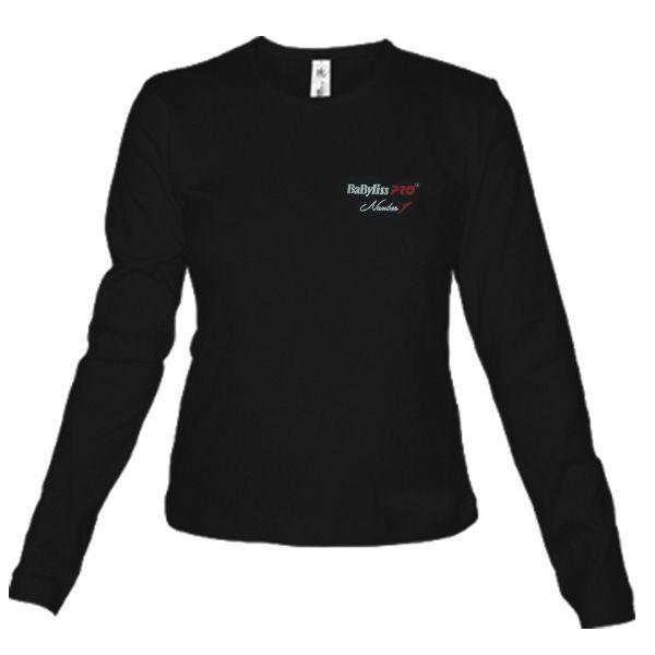 Черная женская футболка Babyliss Pro размер L с длинным рукавом