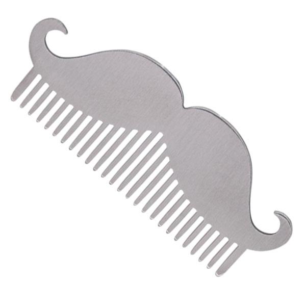 Расческа для бороды в форме усов металлическая